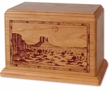Desert Landscape Cherry Wood Newport Laser Carved Cremation Urn
