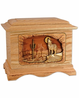 Desert Moon with 3D Inlay Oak Wood Cremation Urn