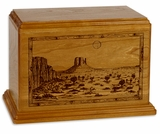 Desert Sunset Mahogany Wood Newport Laser Carved Cremation Urn