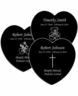 Design Your Own Laser-Engraved Heart Plaque Black Granite Memorial