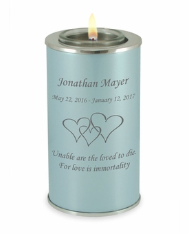 Design Your Own Pearl Blue Tealight Memory Keepsake Candle Infant or Child Cremation Urn