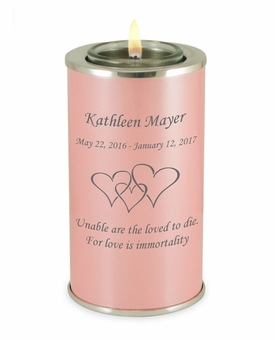 Design Your Own Pearl Pink Tealight Memory Keepsake Candle Infant or Child Cremation Urn
