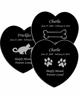 Design Your Own Pet Laser-Engraved Heart Plaque Black Granite Memorial