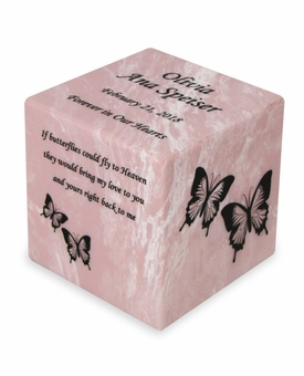 Design Your Own Small Cube Cultured Marble Cremation Urn Vault - Engravable - 34 Color Choices