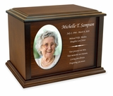 Devotion Oval Photo Frame Wood Cremation Urn - 3 Sizes