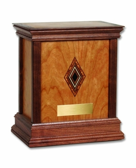 Diamond Cherry Hardwood Handcrafted Cremation Urn by WoodMiller