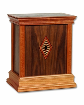 Diamond Contemporary Walnut Hardwood Handcrafted Cremation Urn by WoodMiller