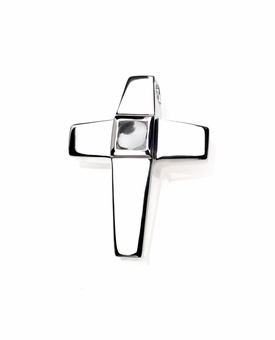 Diamond CZ Birthstone Cross Polished Sterling Silver Cremation Necklace Pendant