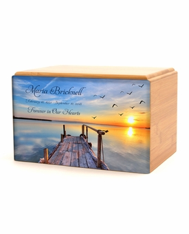 Dock on the Lake Eternal Reflections Wood Cremation Urn - 5 Urn Choices