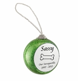Dog Bone Green Glitter Memorial Holiday Tree Ornament