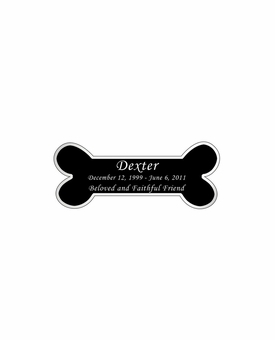 Dog Bone Nameplate - Engraved Black and Silver - 2-3/4  x  1-1/8