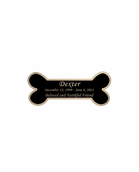 Dog Bone Nameplate - Engraved Black and Tan - 2-3/4  x  1-1/8
