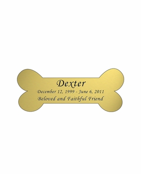 Dog Bone Nameplate - Engraved - Gold - 3-1/2  x  1-7/16
