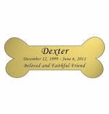 Dog Bone Nameplate - Engraved - Gold - 4-1/4  x  1-3/4