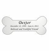Dog Bone Nameplate - Engraved Silver - 4-1/4  x  1-3/4