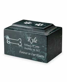 Dog Bone Pet Classic Cultured Marble Cremation Urn Vault - Engravable - 34 Color Choices
