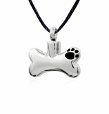 Dog Bone with Paw Print Stainless Steel Pet Cremation Jewelry Pendant Necklace