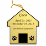 Dog House Double-Sided Memorial Ornament - Engraved - Gold