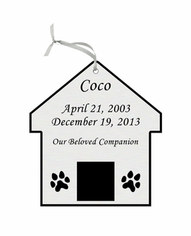 Dog House Double-Sided Memorial Ornament - Engraved - Silver