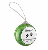 Dog Paw Prints Green Glitter Memorial Holiday Tree Ornament