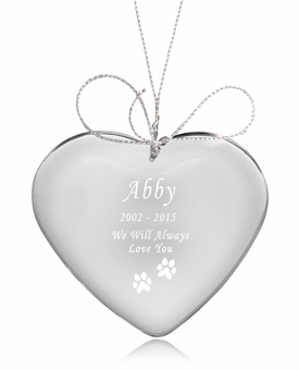 Dog Paw Prints Heart Crystal Pet Memorial Ornament