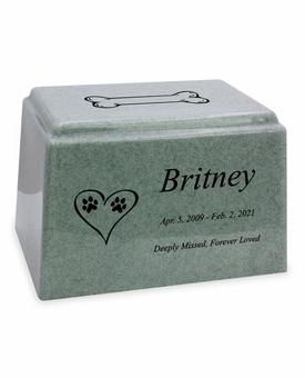 Dog Paw Prints in Heart Granite Promise Pet Cremation Urn - 14 Colors - 3 Sizes