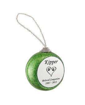 Dog Paw Prints in Heart Green Glitter Memorial Holiday Tree Ornament