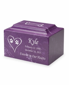Dog Paw Prints in Heart Pet Classic Cultured Marble Cremation Urn Vault - Engravable - 34 Color Choices