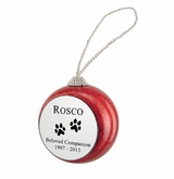 Dog Paw Prints Red Glitter Memorial Holiday Tree Ornament