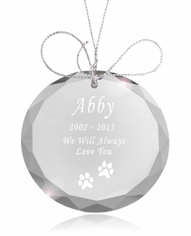 Dog Paw Prints Round Crystal Pet Memorial Ornament