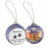 Dog Paw Prints Santa and Sleigh Memorial Holiday Tree Ornament
