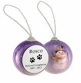 Dog Paw Prints Snowman Memorial Holiday Tree Ornament