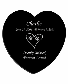 Dog Prints in Heart Laser-Engraved Pet Black Granite Memorial Heart Plaque