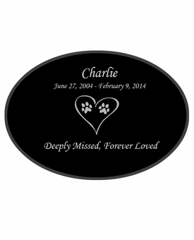 Dog Prints in Heart Laser-Engraved Pet Black Granite Memorial Oval Plaque