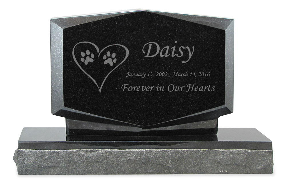 Dog Prints In Heart Pet Upright Grave Marker Black Granite Laser Engraved Memorial Headstone