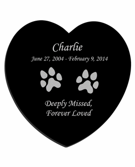 Dog Prints Laser-Engraved Pet Black Granite Memorial Heart Plaque