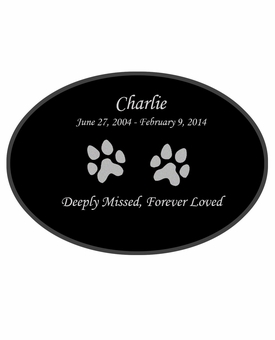 Dog Prints Laser-Engraved Pet Black Granite Memorial Oval Plaque