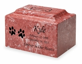 Dog Paw Prints Pet Classic Cultured Marble Cremation Urn Vault - Engravable - 34 Color Choices