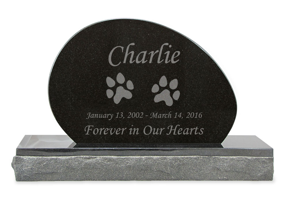 Dog Prints Pet Upright Grave Marker Black Granite Laser Engraved Memorial Headstone Design 3