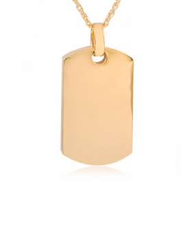 Dog Tag Gold Vermeil Cremation Jewelry Pendant Necklace