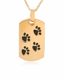 Dog Tag with Paw Prints Gold Vermeil Pet Cremation Jewelry Necklace