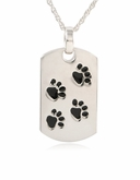 Dog Tag with Paw Prints Sterling Pet Cremation Jewelry Necklace