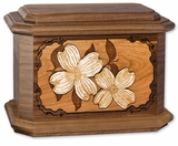 Dogwood Blossoms with 3D Inlay Walnut Wood Octagon Cremation Urn