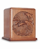 Dolphin Mahogany Cremation Urn - Engravable