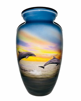 Dolphins At Play Picture Cremation Urn