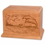 Dolphins Cherry Wood Newport Laser Carved Cremation Urn