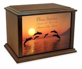 Dolphins Eternal Reflections Wood Cremation Urn - 3 Sizes