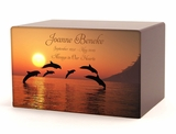 Dolphins Eternal Reflections II Wood Cremation Urn - 5 Urn Choices