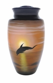 Dolphins in Flight Hand Painted Cremation Urn