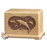Dolphins Laser Carved Cherry Wood Cremation Urn